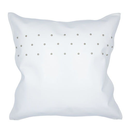 White 20 In. X 20 In. Studded Leather Throw Pillow