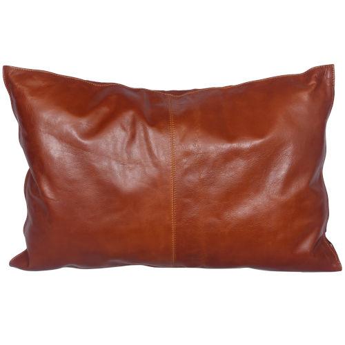 Buckskin Brown 16 In. X 24 In. Leather Throw Pillow