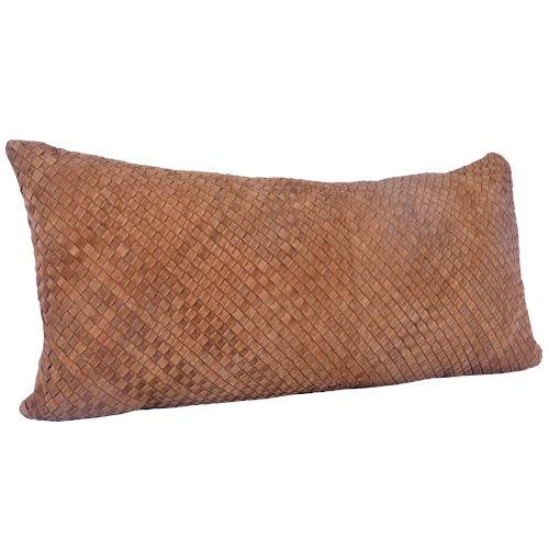 Tan 30 In. X 14 In. Suede Basket Weave Long Lumbar Throw Pillow