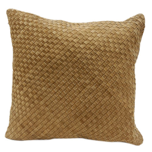 Genuine Leather Butterscotch 20 In. X 20 In. Woven Suede Square Throw Pillow