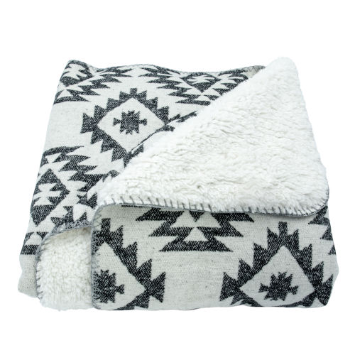Southwest Black 50 In. X 60 In. Throw with Shearling Back