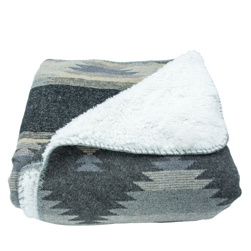 Southwest Gray 50 In. X 60 In. Throw with Shearling Back