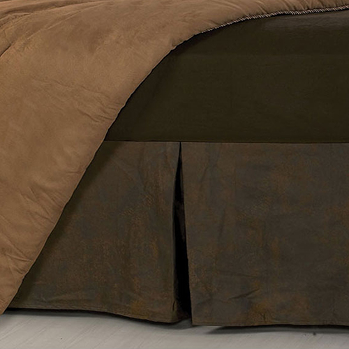 Faux Leather Chocolate Twin Bed Skirt