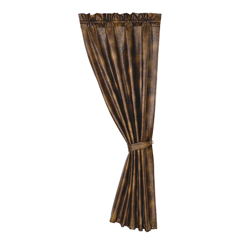 Faux Leather Brown 48 x 84-Inch Curtain Single Panel