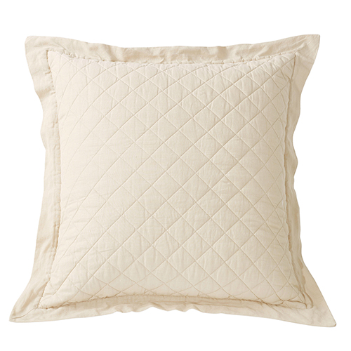 Linen Cream Diamond Pattern Quilted Euro Sham