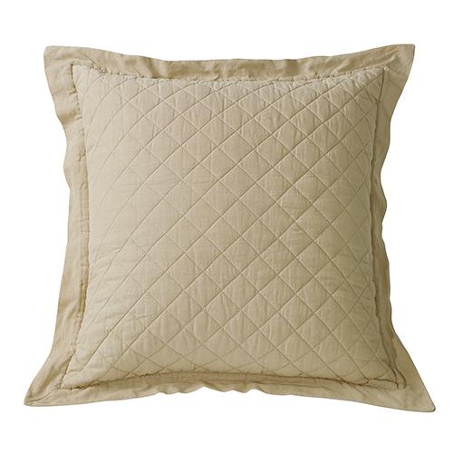 Linen Khaki Diamond Pattern Quilted Euro Sham