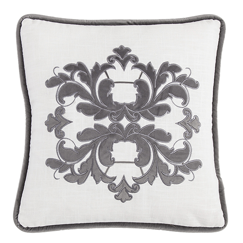 Madison White and Grey 18 x 18 In. Throw Pillow
