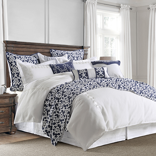 Kavali Navy and White Super Queen Four-Piece Comforter Set