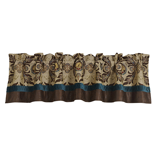 Loretta Cream, Brown and Teal 56 x 18- Inch Valance