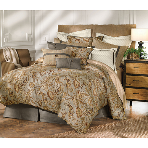 Piedmont Sepia Grey Super Queen Four-Piece Comforter Set