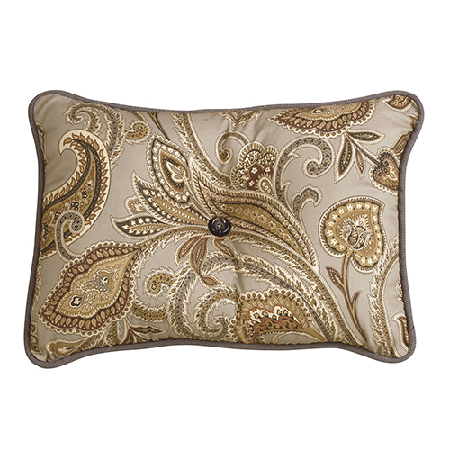 Piedmont Sepia Grey Paisley 16 x 21 In. Throw Pillow