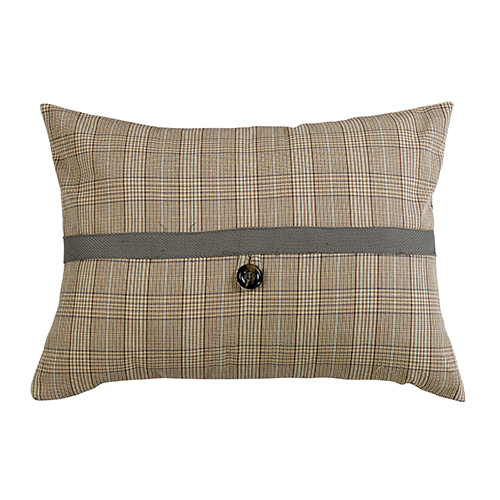 Piedmont Sepia Grey Plaid 16 x 21 In. Throw Pillow