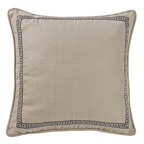 Augusta Khaki Euro Sham with Greek Key Trim