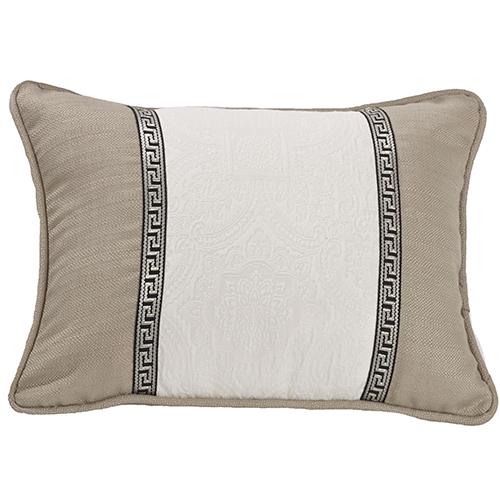 Augusta White and Khaki Matelassé 16 x 21 In. Throw Pillow