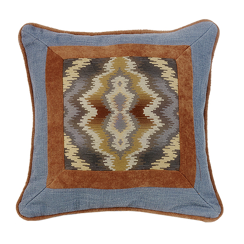 Lexington Blue and Copper 18 x 18 In. Throw Pillow