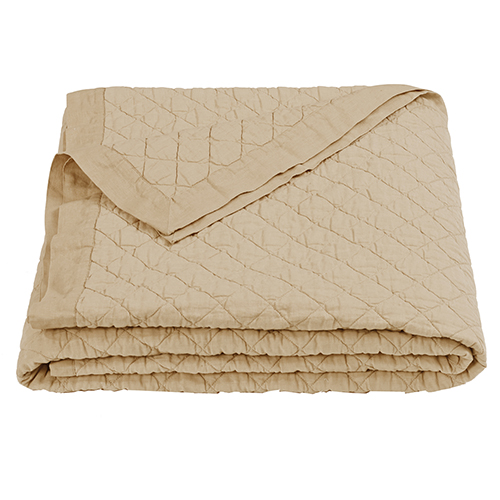 Linen Khaki Diamond Pattern Full/Queen Quilt