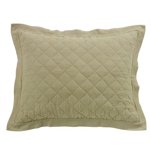 Linen Khaki Diamond Pattern Quilted Standard Sham