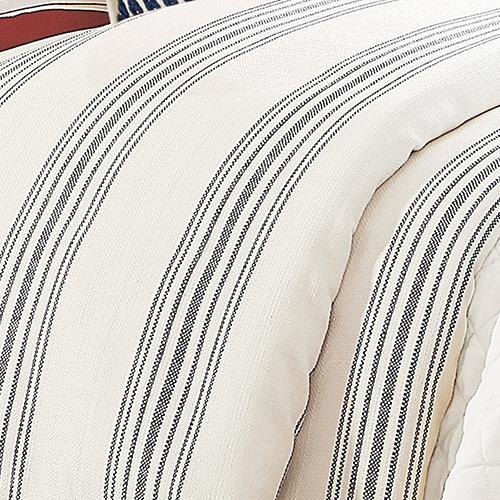Prescott Navy Stripe Super Queen Duvet