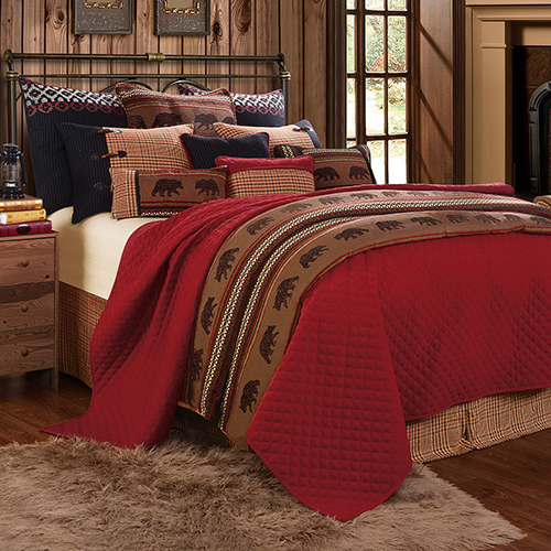 HiEnd Accents Bayfield Red and Brown Twin Four-Piece Coverlet Set