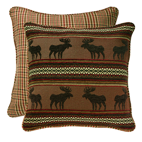 Bayfield Moose and Houndstooth Reversible Euro Sham