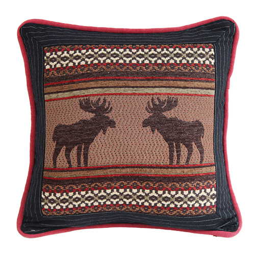 Bayfield Moose and Pinstripe 18 x 18 In. Throw Pillow