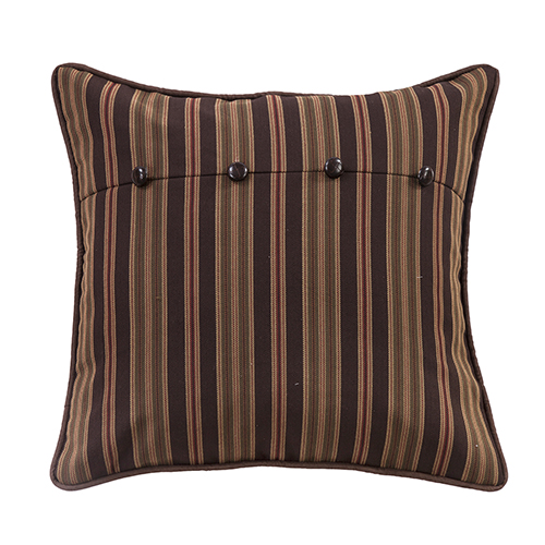 Forest Pines Chocolate and Tan Stripe Euro Sham
