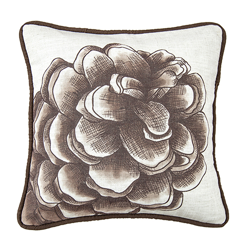 Forest Pines Water Print Pinecone 18 x 18 In. Throw Pillow