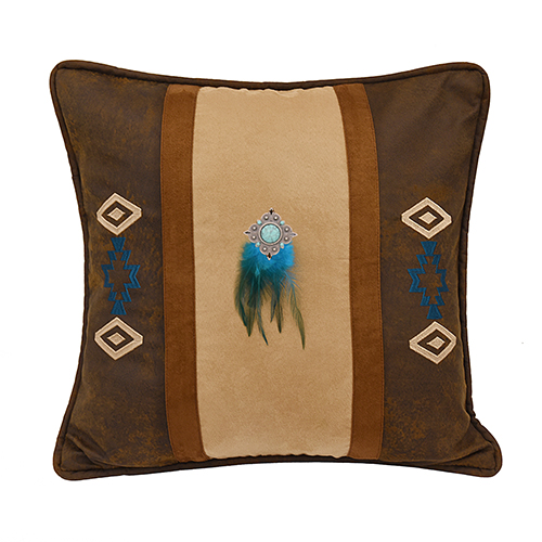 Southwest Faux Suede 18 x 18 In. Throw Pillow with Feathers