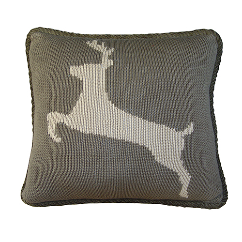 Grey Deer 16 x 21 In. Knitted Throw Pillow
