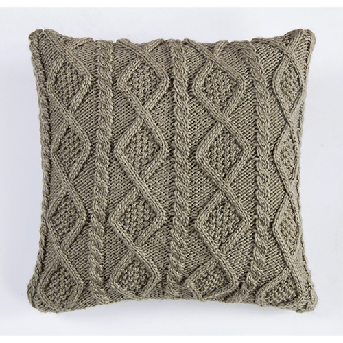 Green 18 x 18 In. Cable Knit Throw Pillow