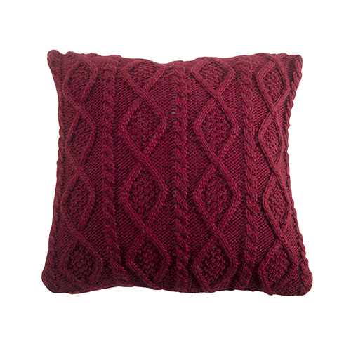 Red 18 x 18 In. Cable Knit Throw Pillow