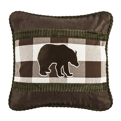 Embroidered Bear 18 x 18 In. Throw Pillow