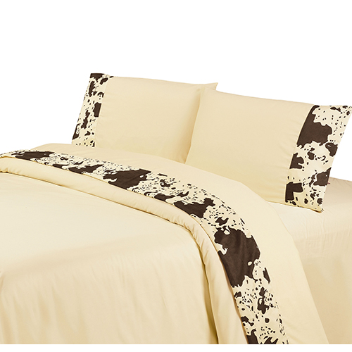 Cream Cowhide Three-Piece Twin Sheet Set