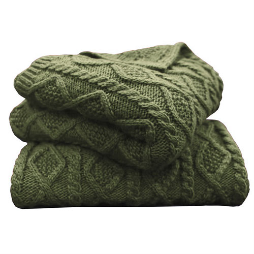 Cable Knit Green Throw