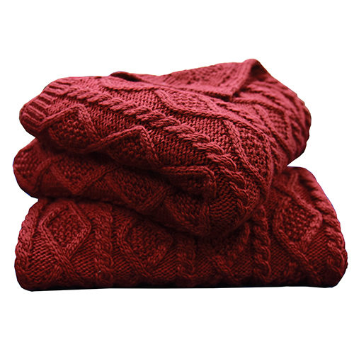 Cable Knit Red Throw