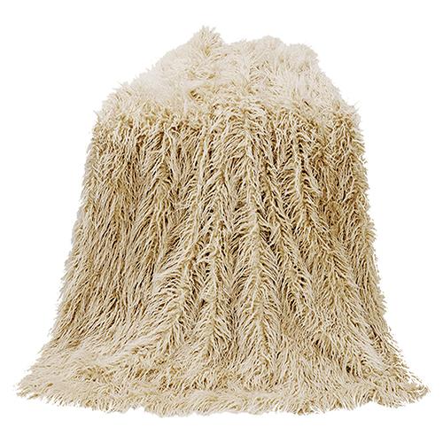 Mongolian Cream Faux Lamb Fur Throw