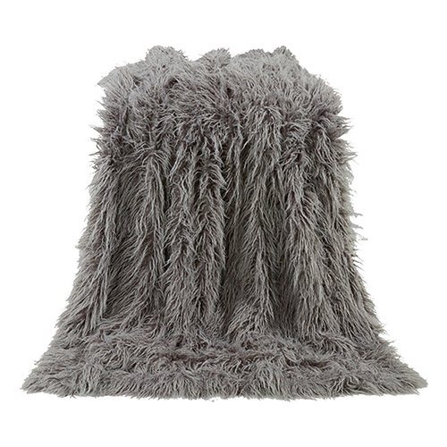 Mongolian Grey Faux Lamb Fur Throw
