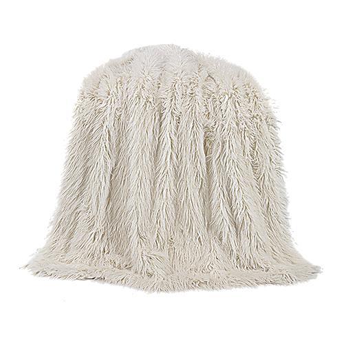 Mongolian White Faux Lamb Fur Throw