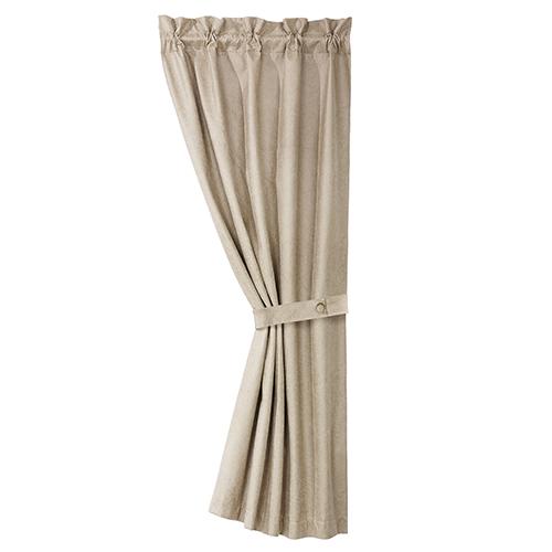 Silverado Cream Faux Leather 84 x 48-Inch Curtain Single Panel