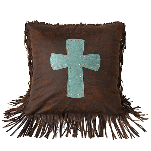 Cheyenne Turquoise Cross 18 x 18 In. Throw Pillow