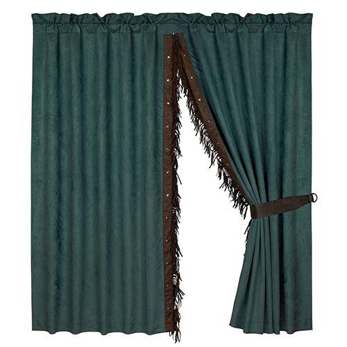 Del Rio Teal 84 x 60-Inch Curtain Panel Pair with Chocolate Fringe