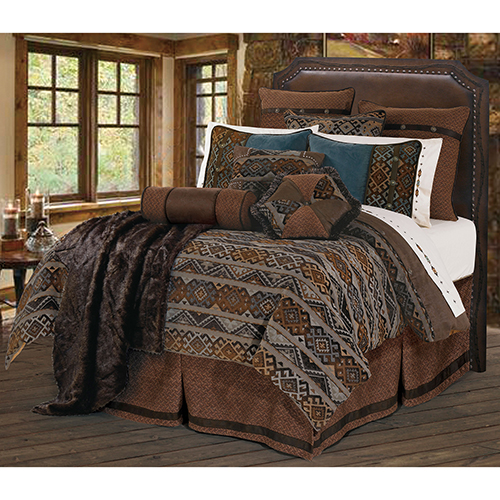 Rio Grande Blue and Brown Twin Five-Piece Duvet Set