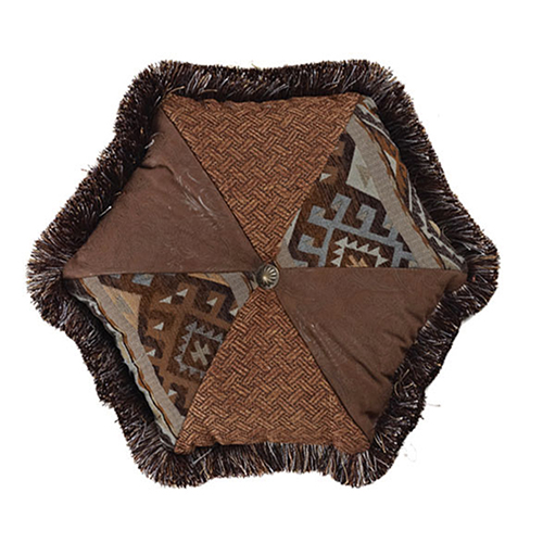 Rio Grande Blue and Brown 17 x 17 In. Hexagon Throw Pillow