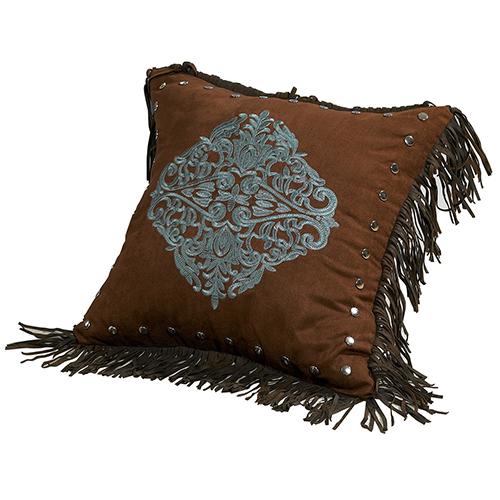 Chocolate and Turquoise 18 x 18 In. Throw Pillow with Fringe