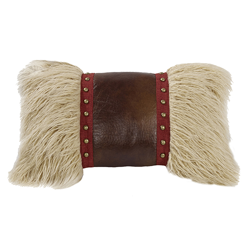 Ruidoso Mongolian Fur 12 x 19 In. Throw Pillow with Faux Leather