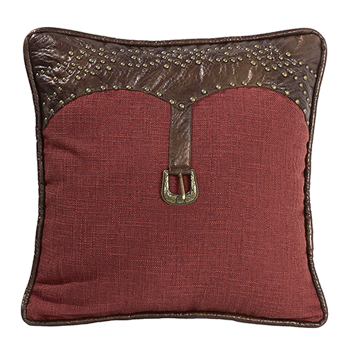 Ruidoso Red 18 x 18 In. Throw Pillow with Leather Scalloped Edges