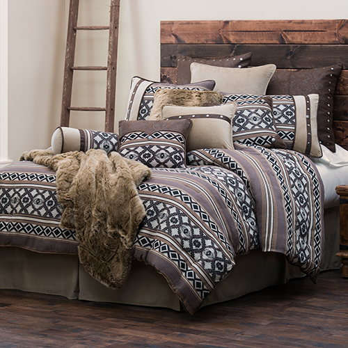Tucson Taupe and Black Twin Four-Piece Comforter Set
