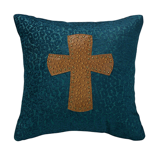 Alamosa Teal Leopard Chenille and Cross 18 x 18 In. Throw Pillow