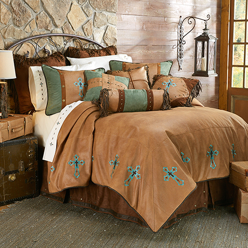 Las Cruses II Tan and Turquoise Twin Four-Piece Comforter Set