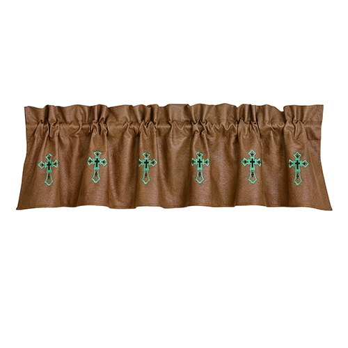 Las Cruses II Tan and Turquoise 84 x 18-Inch Valance